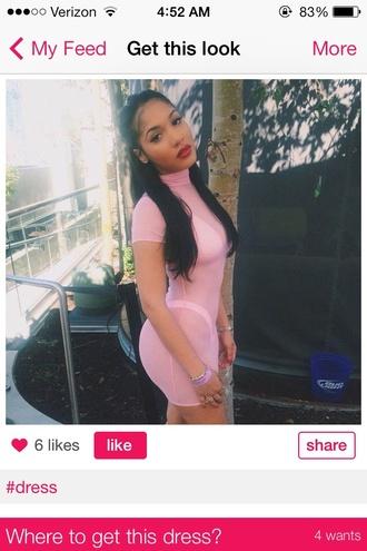 dress pink dress nudepink see through dress yaris sanchez bodycon dress turtleneck dress mesh dress