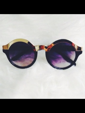 sunglasses circle sunnies gold rimmed
