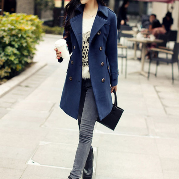 simple coat double breast slim