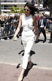 jumpsuit,kendall jenner,sandals,cannes,kardashians,sunglasses,white jumpsuit,white sandals