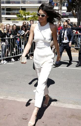 jumpsuit kendall jenner sandals cannes kardashians sunglasses white jumpsuit white sandals