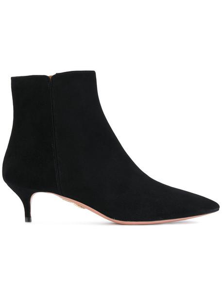 Aquazzura women leather suede black shoes