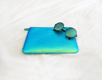 bag comme des garcons holographic metallic clutch zip clutch sunglasses blue green wallet scale scales fish scales green and blue turquoise round round sunglasses rounded sunglasses circle glasses circle frame glasses circle frame sunglasses retro dopeu even urban street metallic clutch grunge soft grunge 90s style pastel grunge cool amazing sweet cute