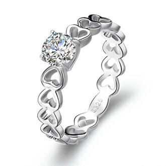 jewels 925 sterling silver ring heart linked ring linked hearts ring round diamond ring heart linked diamond ring cubic zirconium heart ring four-prong setting round cut cubic zirconia heart shaped engagement ring evolees.com