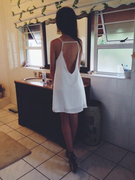 dress white dress backless dress