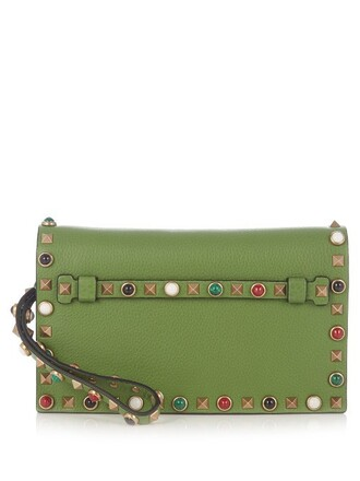 leather clutch clutch leather green bag