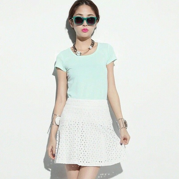 skirt white skirt korean fashion korean style