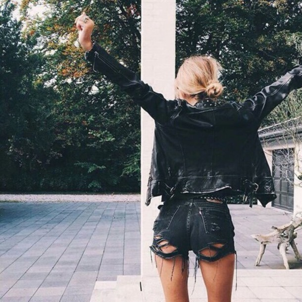 Shorts: ripped shorts, black, cutted, hipster, vintage, vintage ...