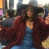 jewels,sunglasses,fur,fur coat,hat,vanessa hudgens,denim,instagram,choker necklace,round sunglasses,music festival,jacket,jumpsuit