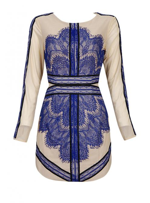 Blue Lace Mesh Embroidery Sexy Slim Dress MX108$129