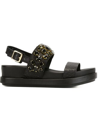 embellished sandals black shoes