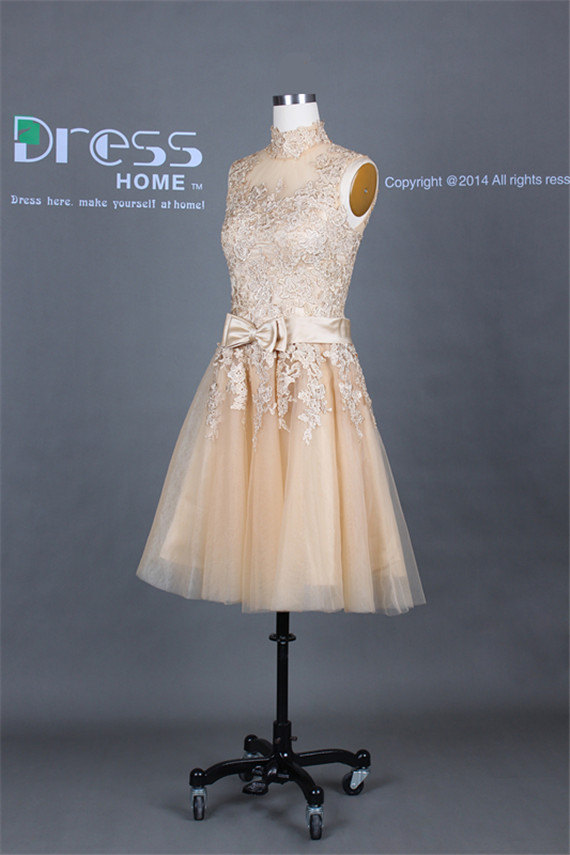 New design high collar champagne lace appliques tulle short wedding dress/bow sash wedding party dress/homecoming dess/short promdress dh267