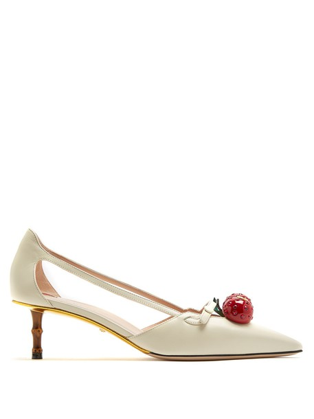 gucci cherry pumps white shoes