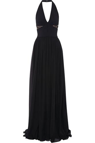 gown chiffon knit lace black dress