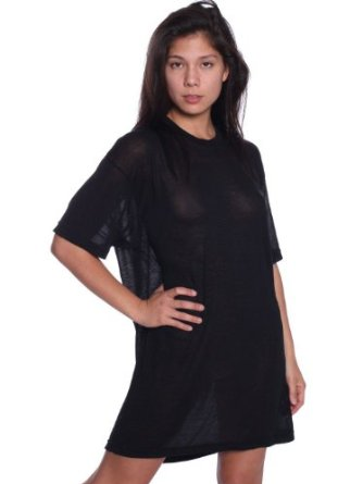 Amazon.com: American Apparel Unisex See Thru Short Sleeve T-Shirt - See Thru Black / One Size: Clothing