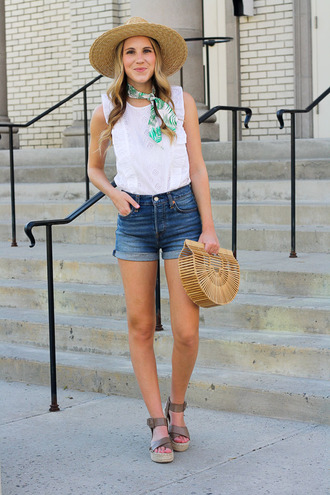 twenties girl style blogger top shorts bag hat scarf shoes straw hat cult gaia bag wedges denim shorts white top summer outfits