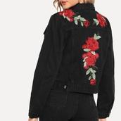 jacket,girly,girl,girly wishlist,denim jacket,denim,black,embroidered,flowers,floral