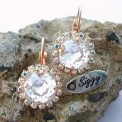 jewels,siggy jewelry,swarovski,bridal,earrings,wedding accessories,rose gold,cushion cut,sparkle,bling,clear crystal,halo earrings,drop earrings,dangle earrings,bridesmaid,weddings,wedding jewelry,fashion,style,fashion jewelry,etsy,shop local,fashionista,beauty fashion shopping,xmas gifts,gift ideas,holiday gift,party,girl,party outfits