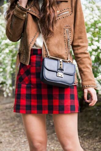 skirt tumblr gingham red skirt mini skirt bag black bag crossbody bag chain bag jacket suede suede jacket brown jacket