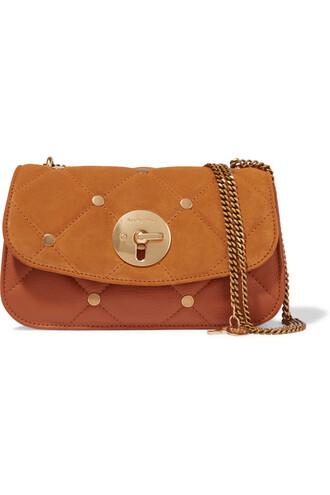quilted bag shoulder bag leather suede tan
