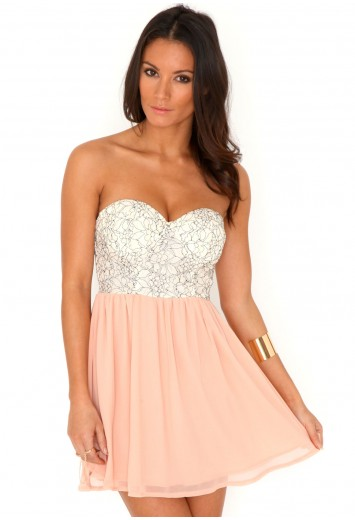 Liusy lace bustier skater dress