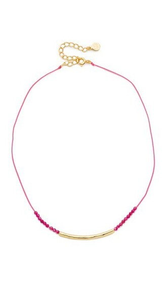 necklace choker necklace gold pink jewels