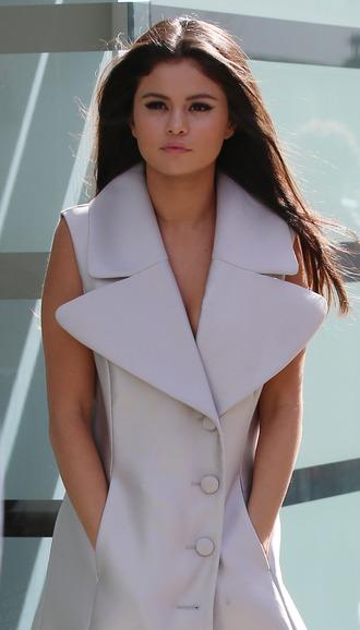 dress selena gomez white blazer dress oversized