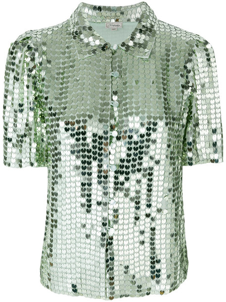 blouse heart women green top