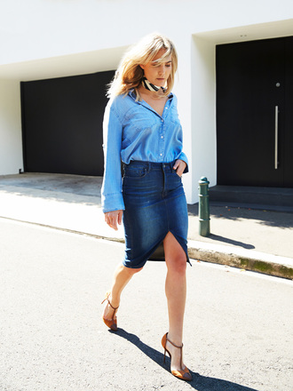 brooke testoni blogger shirt skirt tank top denim slit skirt denim skirt blue skirt pencil skirt denim shirt blue shirt all denim outfit all blue outfit high heels brown high heels cap toe streetstyle spring outfits monochrome outfit