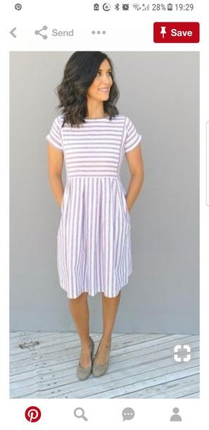 985c73833a402 dress, blue, stripes, cute, knee length, white, t-shirt dress ...
