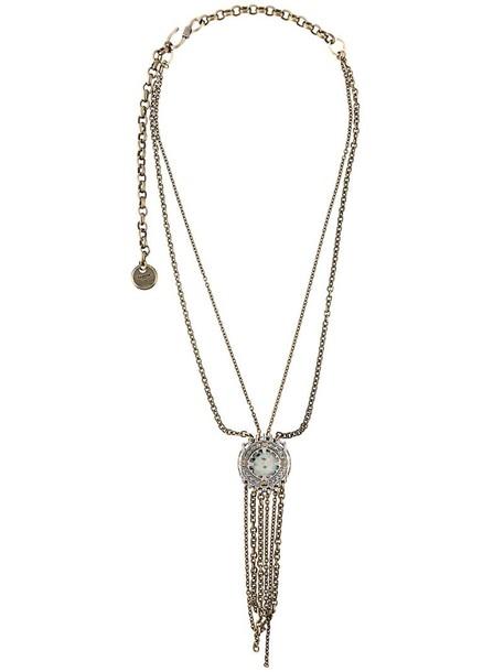 women necklace grey metallic jewels