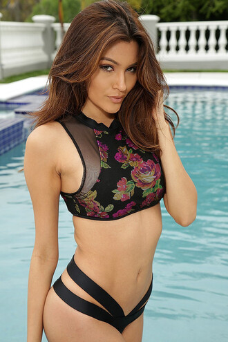 swimwear bikini floral pink black fashion two-piece floral swimwear pink swimwear tropical swimwear