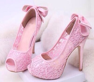 shoes heels seethroughshoes baby pink laceshoes bow heels pink pink shoes lace lace shoes pink lace lacy beautiful beautiful shoes pumps peep toe girly girly shoes pretty cute love delicate lovely