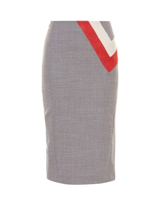 skirt pencil skirt chevron grey
