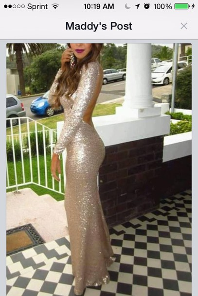 dress long tight formal gold sequins