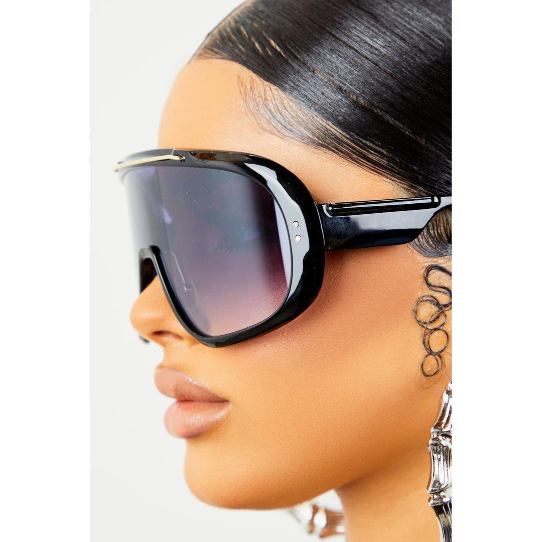 Large Lens Sunglasses- Black/Black