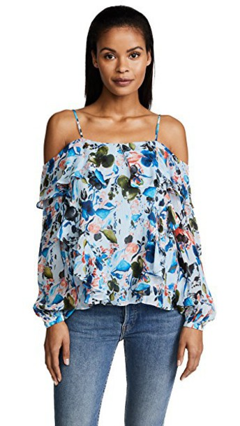 TANYA TAYLOR top daisy top daisy floral watercolor soft blue