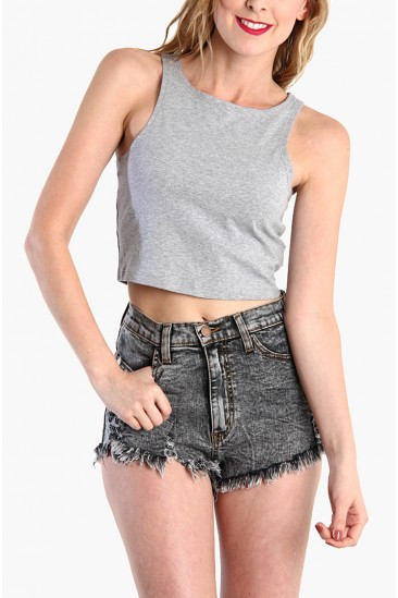 LoveMelrose.com From Harry & Molly | Basic Crop Tank Top - Gray