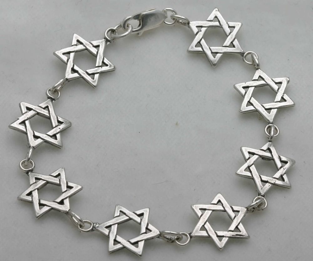 Sterling Silver Jewish Star of David Bracelet handmade