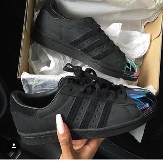 shoes adidas adidas shoes adidas originals black black shoes sneakers black sneakers adidas black sneakers metallic metallic shoes