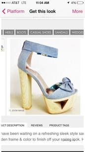 shoes,high heels,cute,denim,light blue,wooden heel,open toes,spring,platform shoes,ankle strap