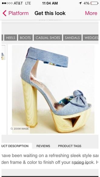 shoes high heels cute spring denim light blue wooden heel open toes platform shoes ankle strap
