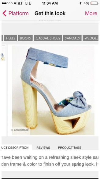 shoes high heels platform wooden heel cute denim light blue open toe spring ankle strap