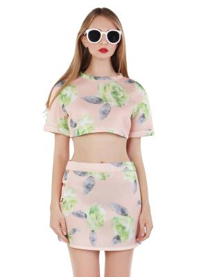 Choies Design Limited Fan Fare Floral Print Visco-Elastic Crop Top With Cut Out Pencil Skirt | Choies