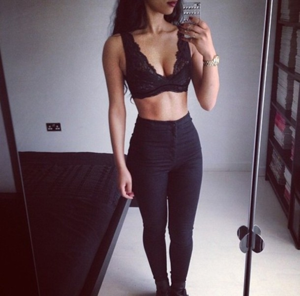 underwear shirt black hipster swag tank top top laces pants black underwear girly pretty jeans black crop top lace triangle bra bralette bralette bra black jeans blouse black top brallete lace top leggings crop tops ripped jeans white t-shirt t-shirt black dress white crop tops