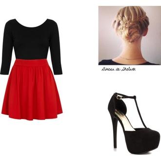 skirt red skirt skater skirt black shirt