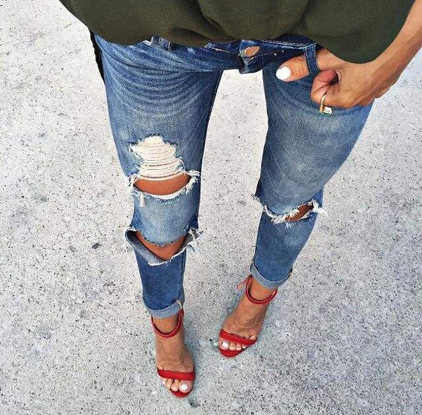 Jeans High Heels Torn Clothes Denim Bottoms Red High