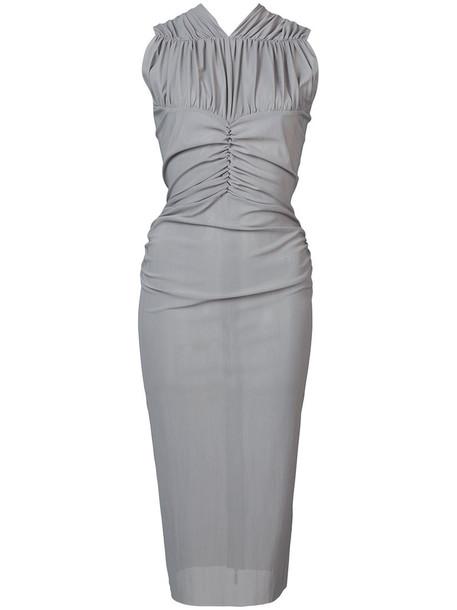 MATICEVSKI dress midi dress women midi spandex grey