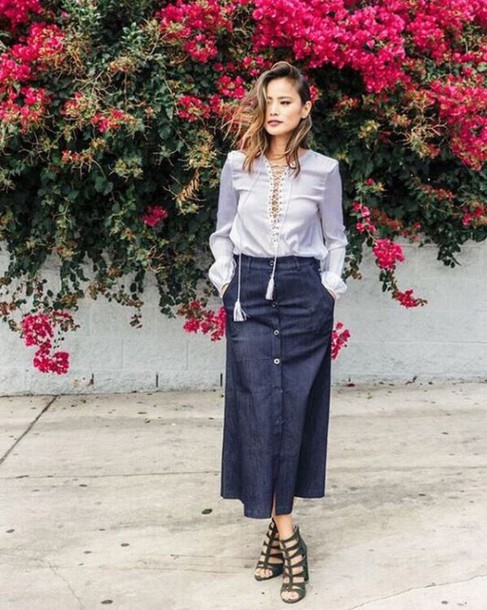 skirt maxi skirt jamie chung blogger sandals blouse shoes button up skirt midi skirt office outfits denim skirt button up denim skirt button up lace up lace up top blue top long sleeves caged sandals sandal heels high heel sandals black sandals spring outfits