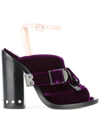 women sandals leather velvet purple pink shoes